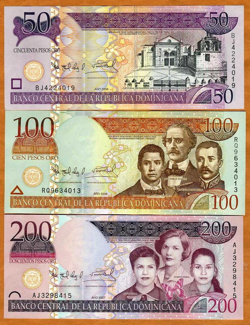 UNC 50;100;200 Set 2006-2008 Dominican Republic