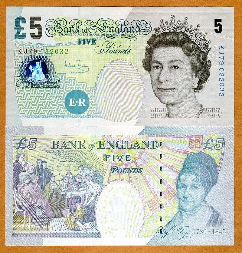 England 5 Pounds p-391c 2004 Sign Bailey UNC Banknote