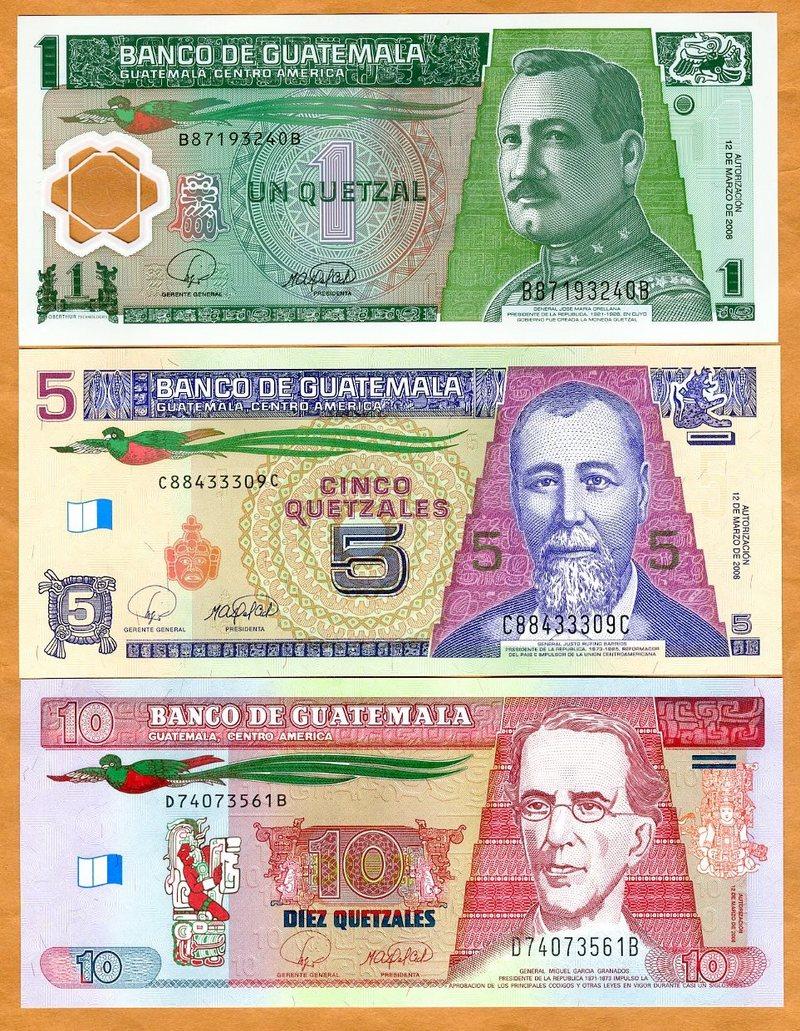 2002-2016 UNC P-Vary Guatemala SET 1;5;10 Quetzales