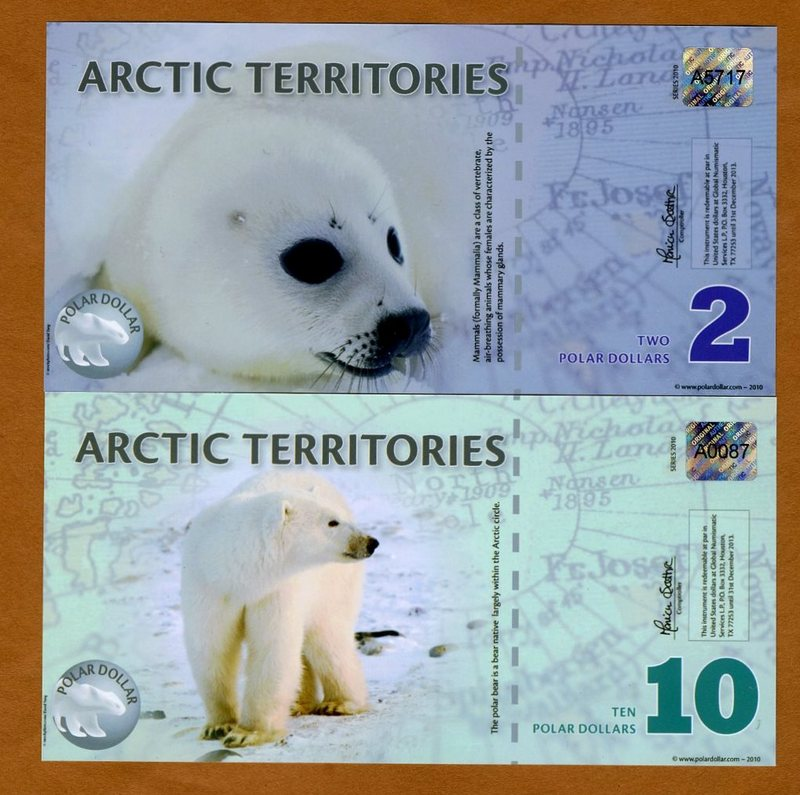 SET Arctic Territories 2010 $2 and $10 Polymer UNC