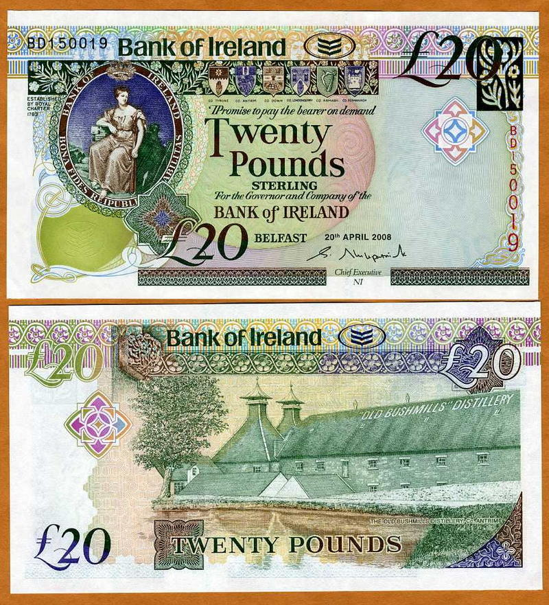 P-84 New Design UNC 2008 10 pounds Bank of Ireland