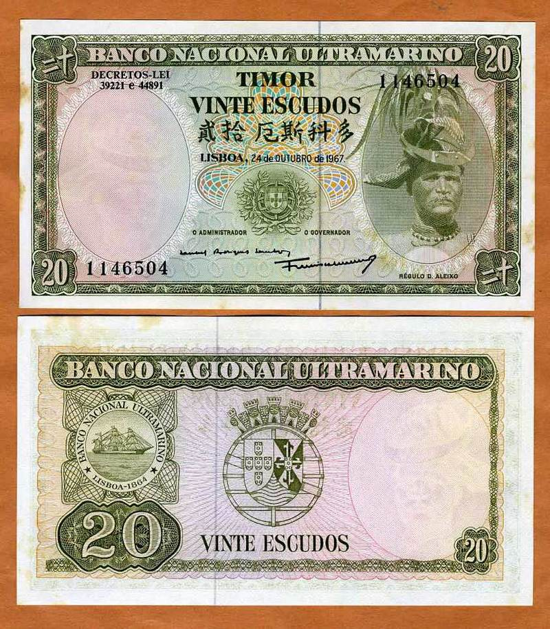 26 UNC With Foxing 1967 Timor 20 Escudos Note P