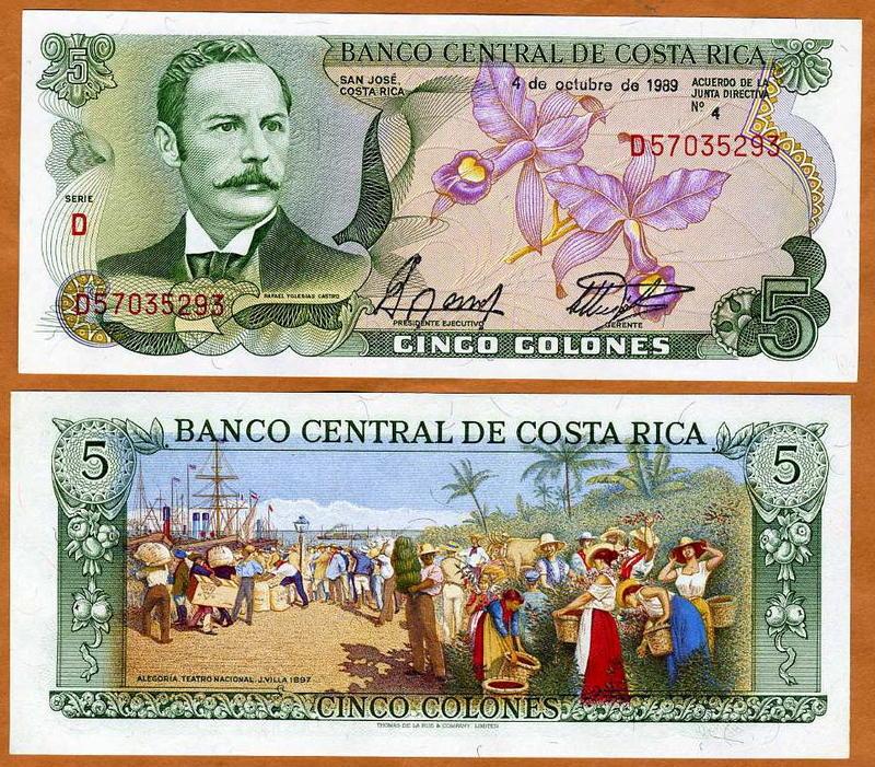 1989 5 x 5 Colones P-236d UNC -/> colorful LOT Costa Rica