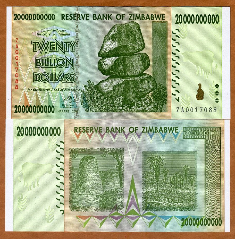 Replacement Zimbabwe 100 Trillion Dollars P91r ZA 2008 P-91 UNC Pick 91r Low SN