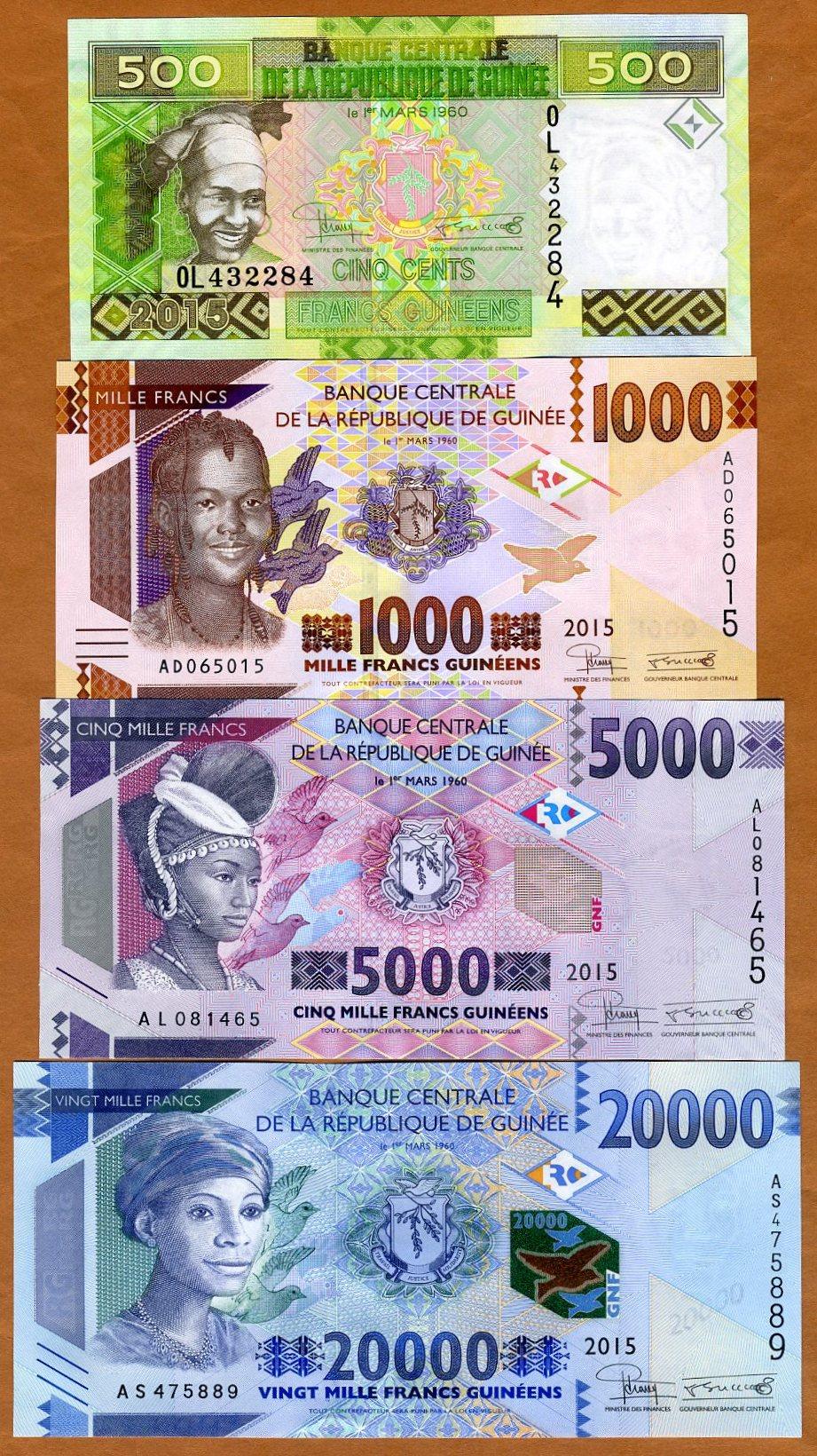 LOT Guinea 5 x 1000 francs 2015 Pick New UNC /> Redesigned