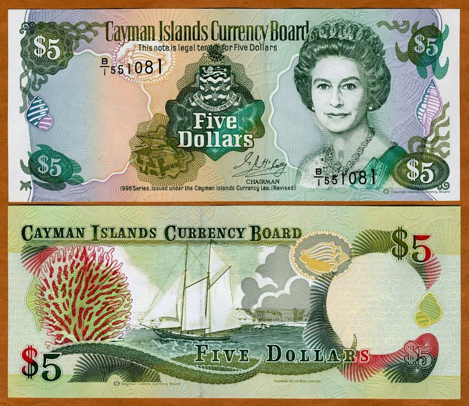 UNC $5 1996 Cayman Islands P-17 QEII