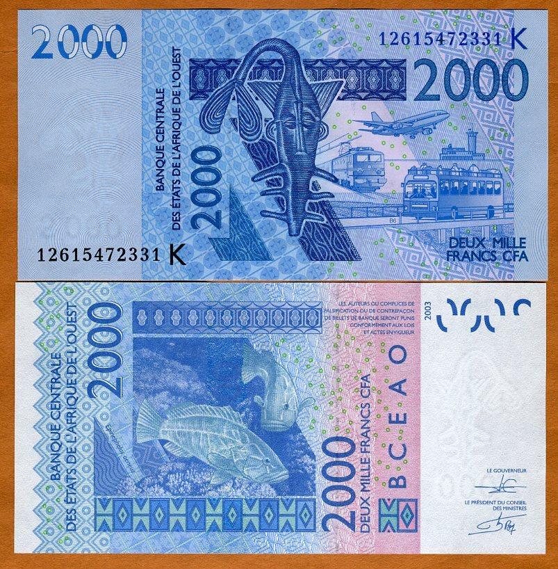 West African States 2000 Francs Senegal p-716K 2019 UNC Banknote K
