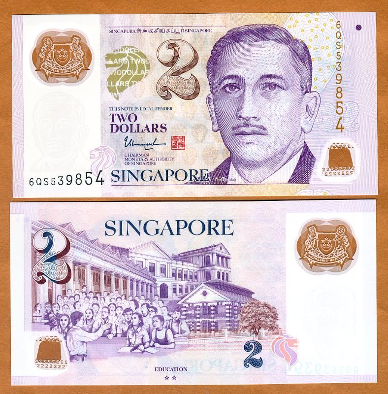 Singapore P-38 Two Dollars Year 1999 ND Uncirculated Banknote Paper