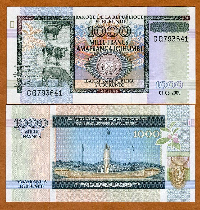 500 Fr /& 1000 Fr 2009 P-46 2015 P-50 BURUNDI UNC NOTES: 100 Francs 2011 P-44