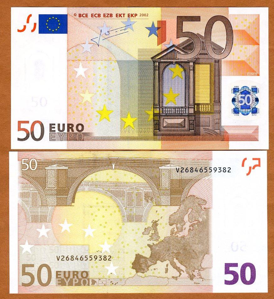 European union spain 50 euro p 11v 2002 unc ebay for Wohnwand 50 euro