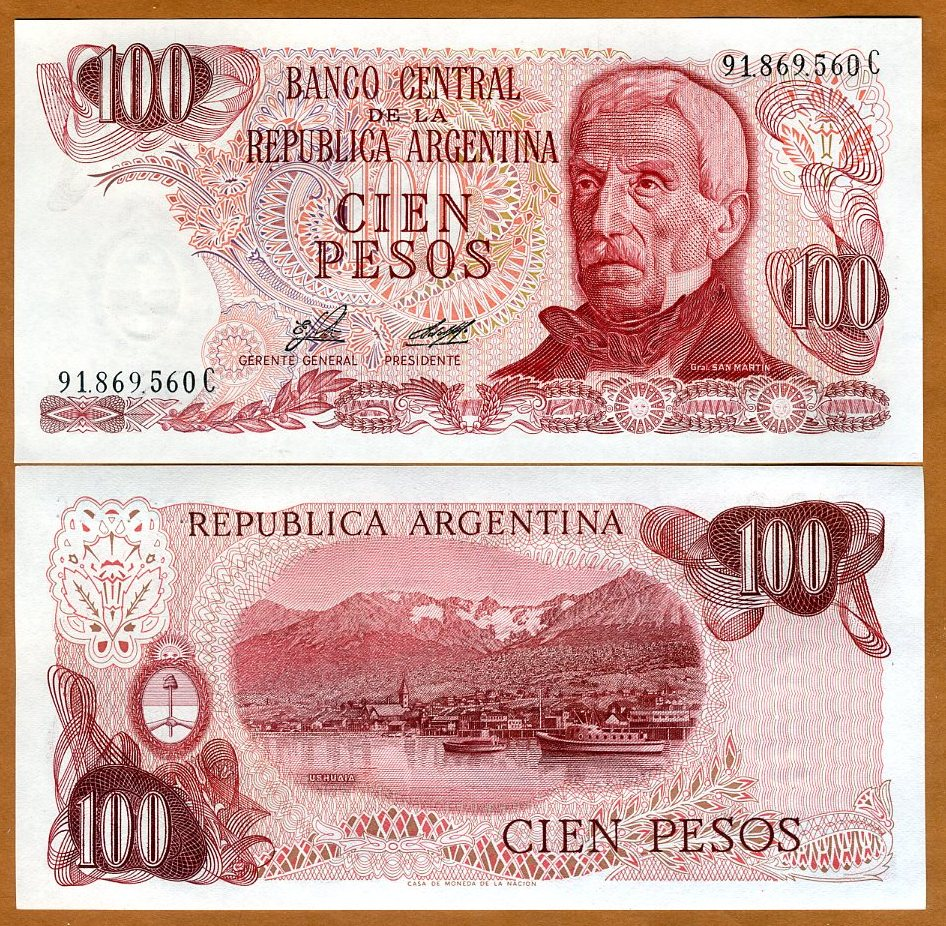, UNC 1976 ARGENTINA , P302b  pick 302b , 100-PESO , ND