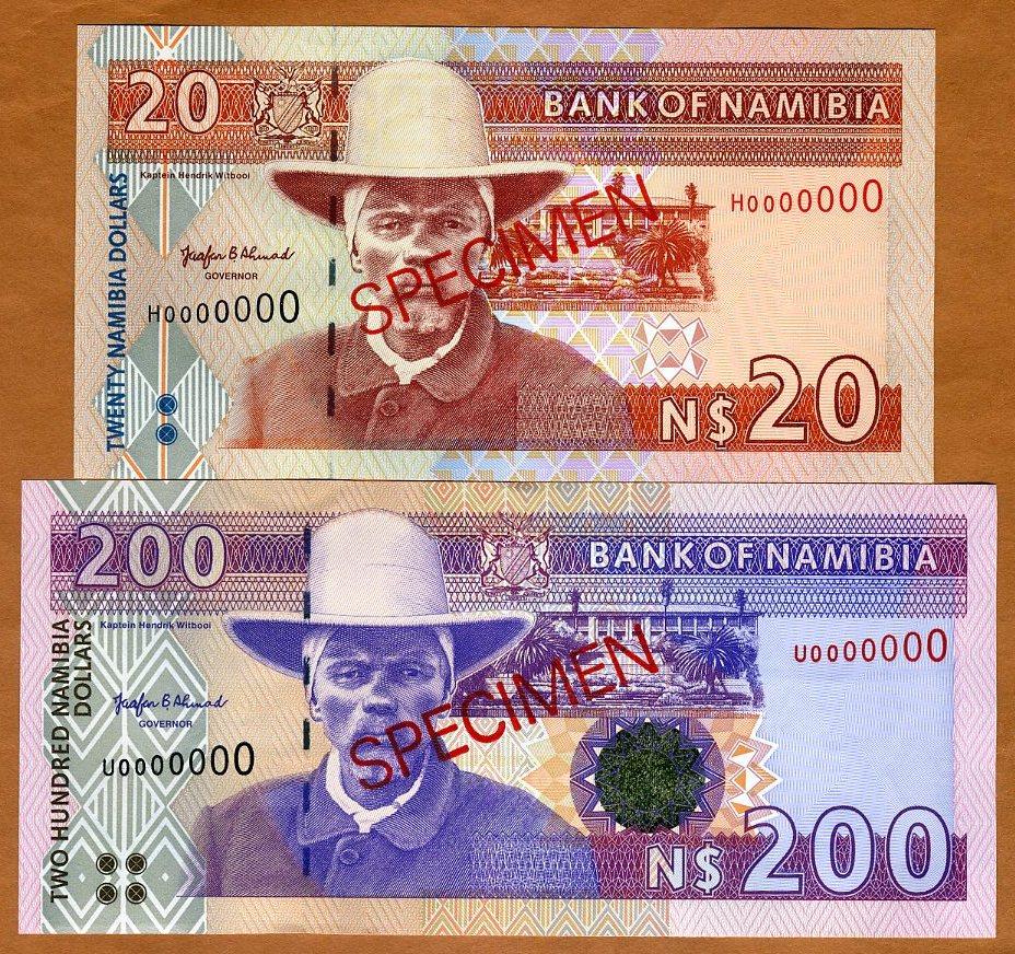 20;200 Dollars UNC /> Signature 2 P-5s-10s Specimen Set Namibia 1996