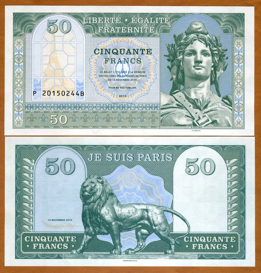 Solidarity Note France 2015 Private Issue Paris 50 Francs UNC