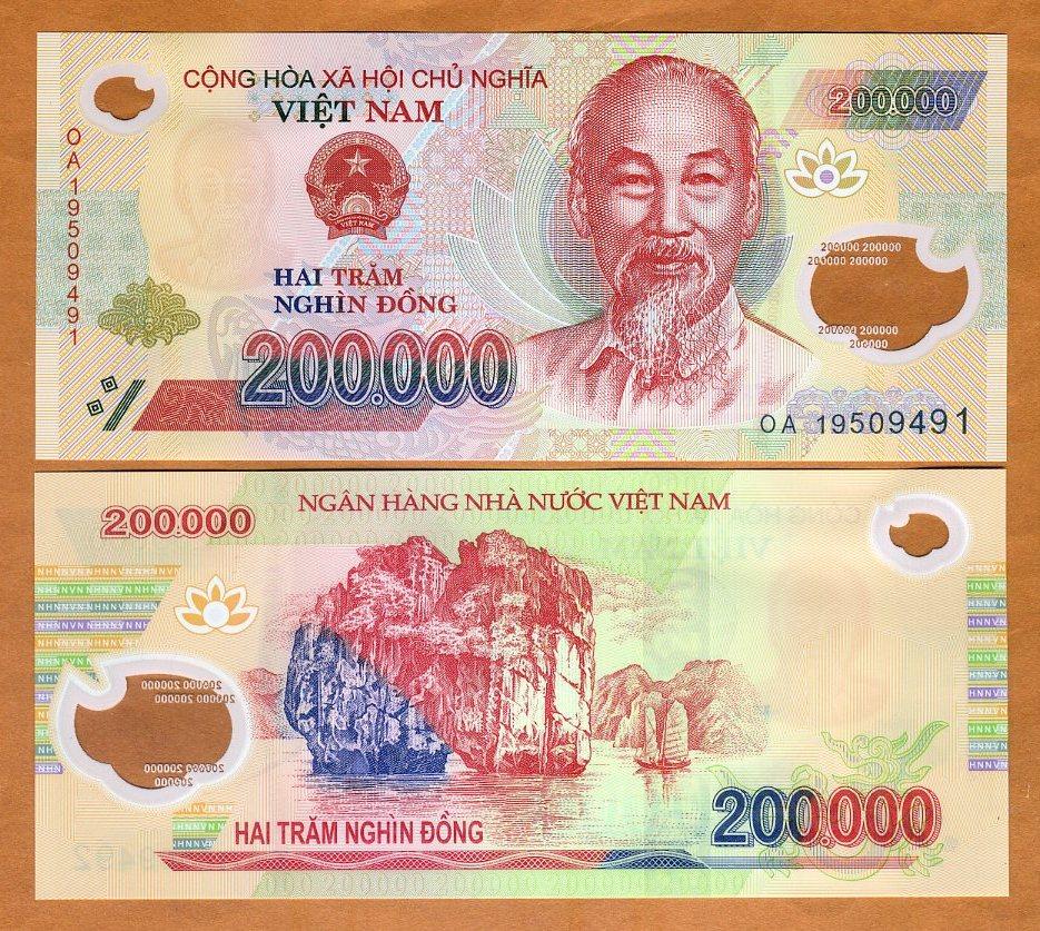 UNC Polymer 2013-2017 Vietnam Viet Nam 200000 200,000 Dong Lot 5 PCS P-123