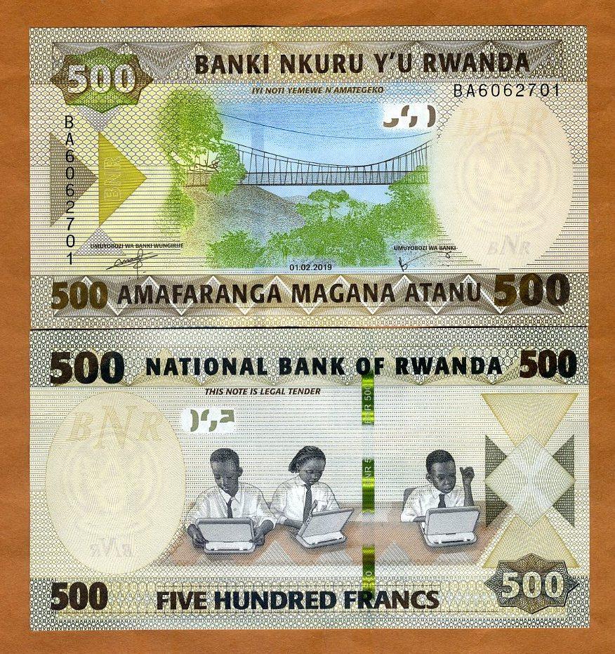 RWANDA 500 FRANCS 2019 P-NEW UNC BUNDLE 100 PCS