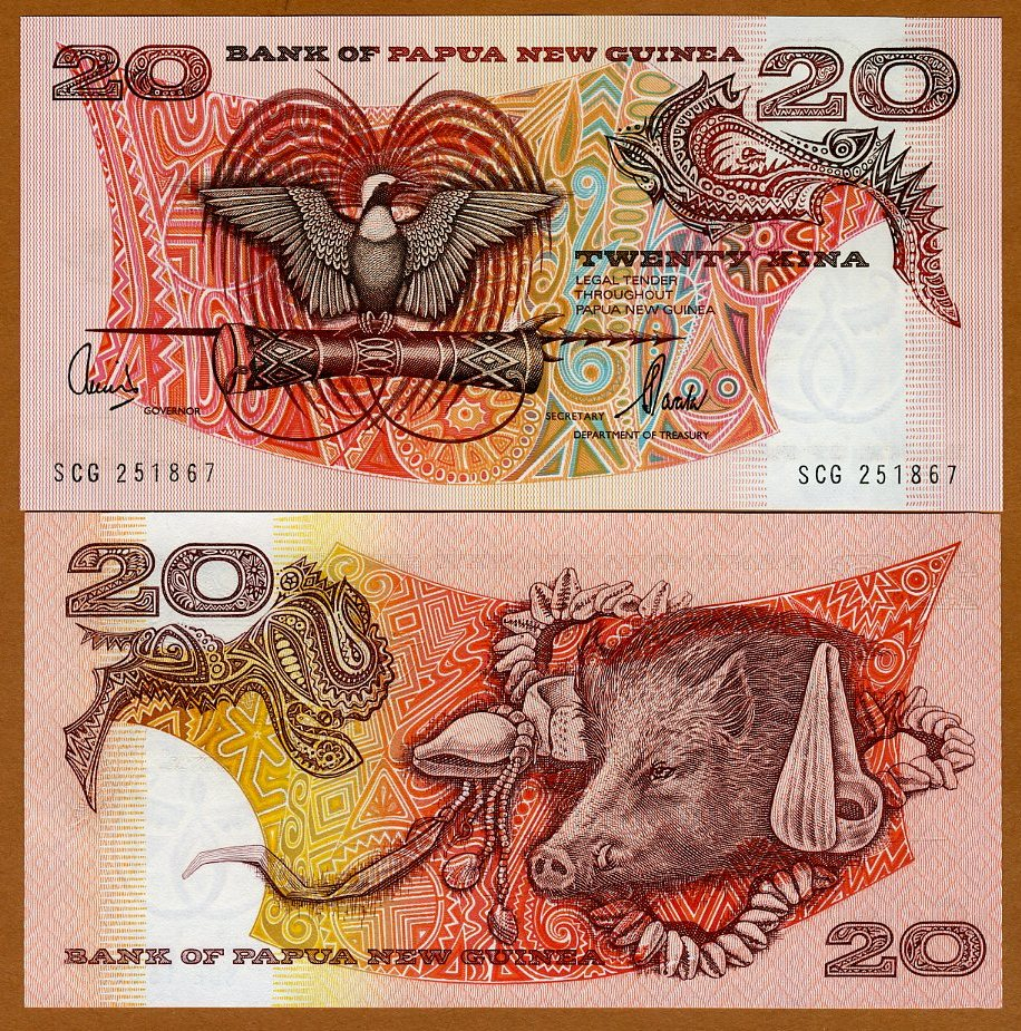 P-10 PAPUA NEW GUINEA UNC /> Scarce Type 1981-1985 ND 20 Kina 10d