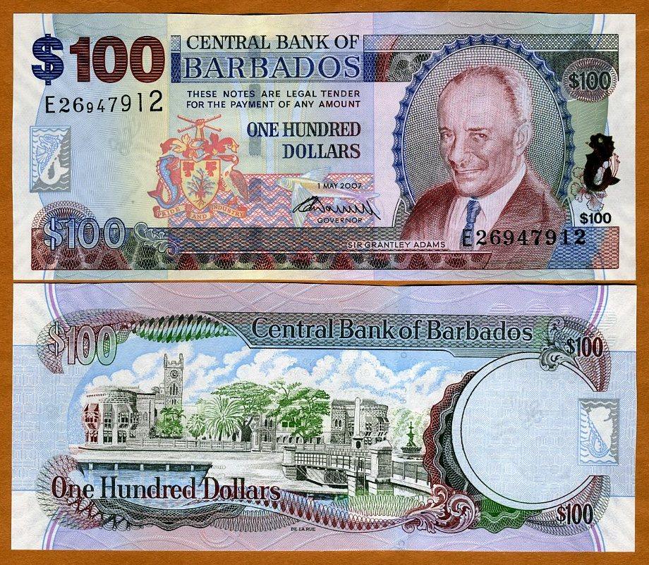2009 signature UNC P-71-New 1-5-2007, 100 dollars Barbados
