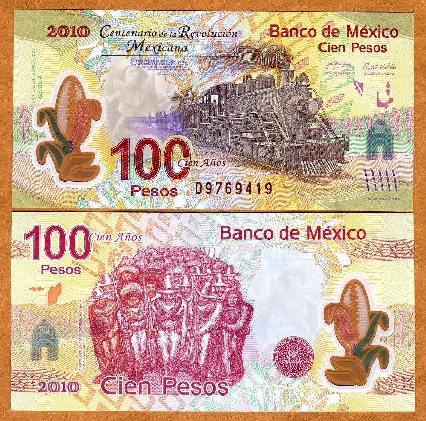 Mexico 2010 100 Pesos 2007 Commemorative Polymer P-128 UNC /> Train
