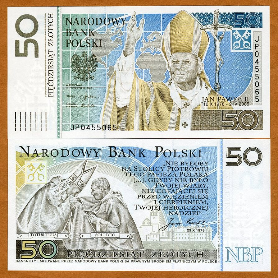 UNC COMMEMORATIVE POLAND 2006 50 ZL POPE JOHN PAUL II