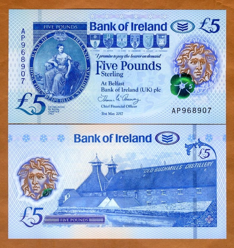 5 pounds Polymer UNC P-New 2018 Ireland Northern Ulster Bank 2019