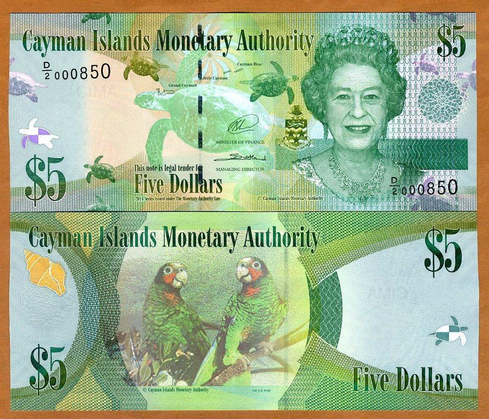 Cayman Islands 5 Dollars 2014 P-39b Turtle Lovebirds Queen Elizabeth II Unc