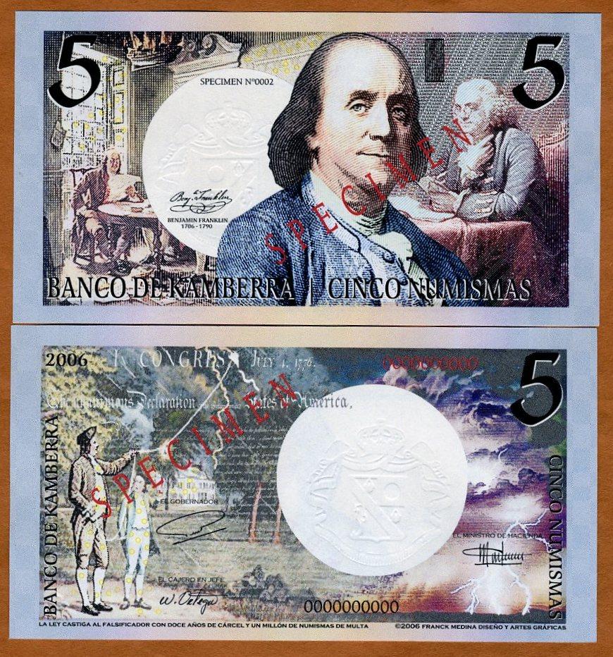 5 Numismas UNC /> Benjamin Franklin 2006 Kingdom Kamberra SPECIMEN