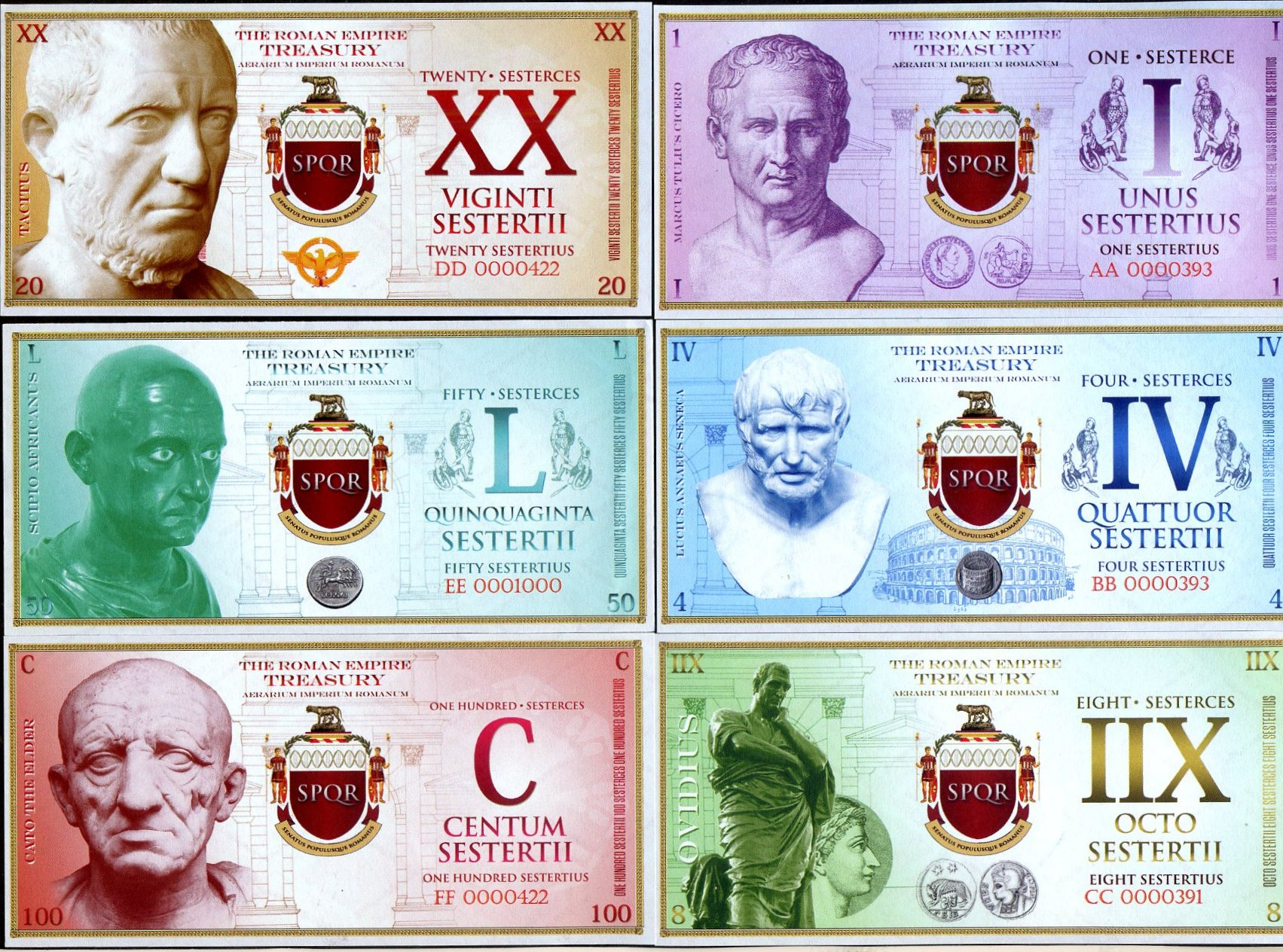 1;4;8;20;50;100 Sesterces SET Roman Empire 2018 UNC