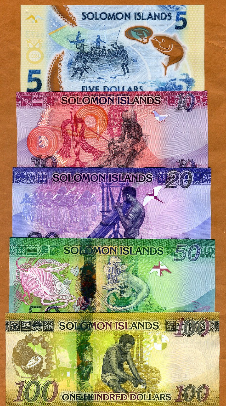 $20;50;100 ND 2013-2017 SET Solomon Islands P-New UNC /> Redesigned
