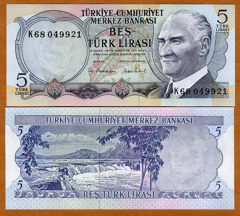 P-185 1970 Turkey L 1976 UNC 5 Lira