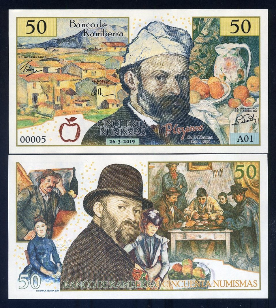 KAMBERRA 50 NUMISMAS 2019 Private Issued PAUL CEZANNE 1839-1906 UNC