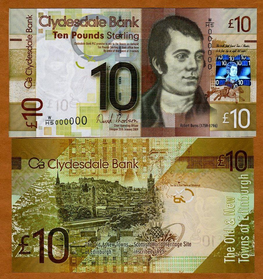 UNC 10 pounds Pick 229j Scotland 2009 Clydesdale Bank