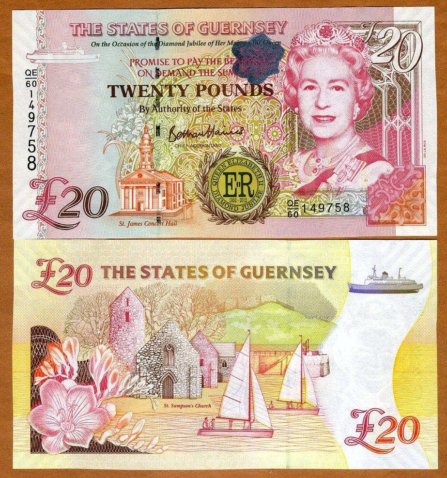 Guernsey, 20 pounds, 2012 P-61, QEII, UNC > Commemorative