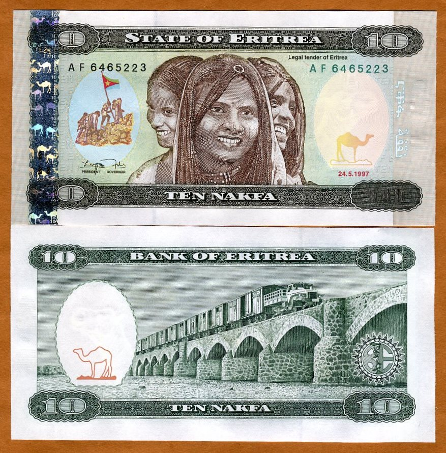 10 Nakfa 1997 First currency P-3 Eritrea UNC /> Children