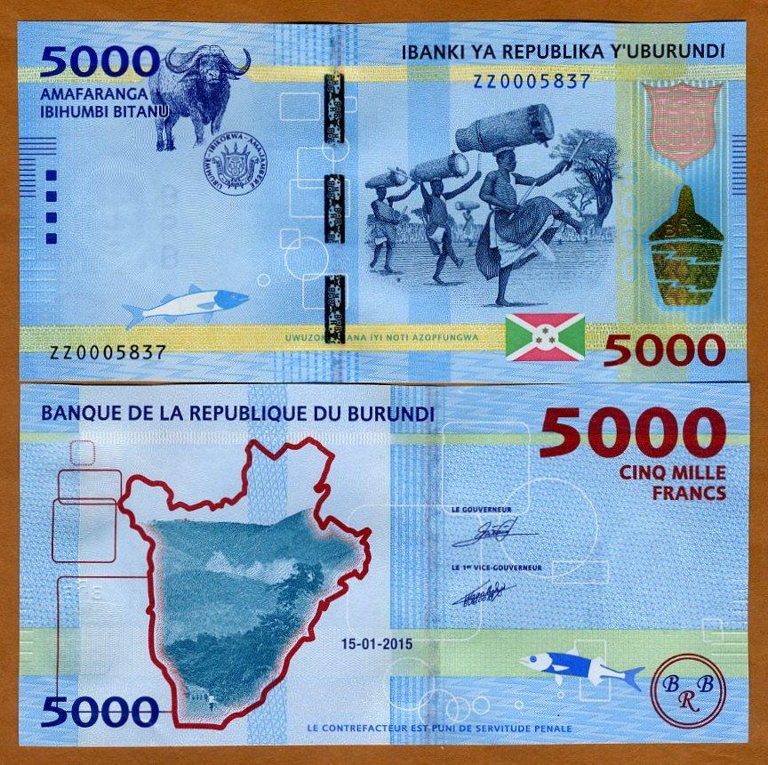 BURUNDI 10000 FRANCS 15-01-2015 UNCIRCULATED P-54