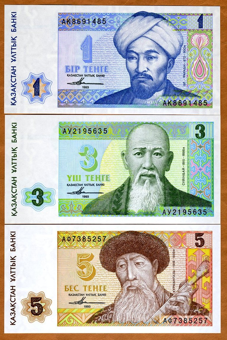 1993 Picks 7-8-9 UNC SET Kazakhstan FIRST INDEPENDENT ISSUE 1;3;5 tenge