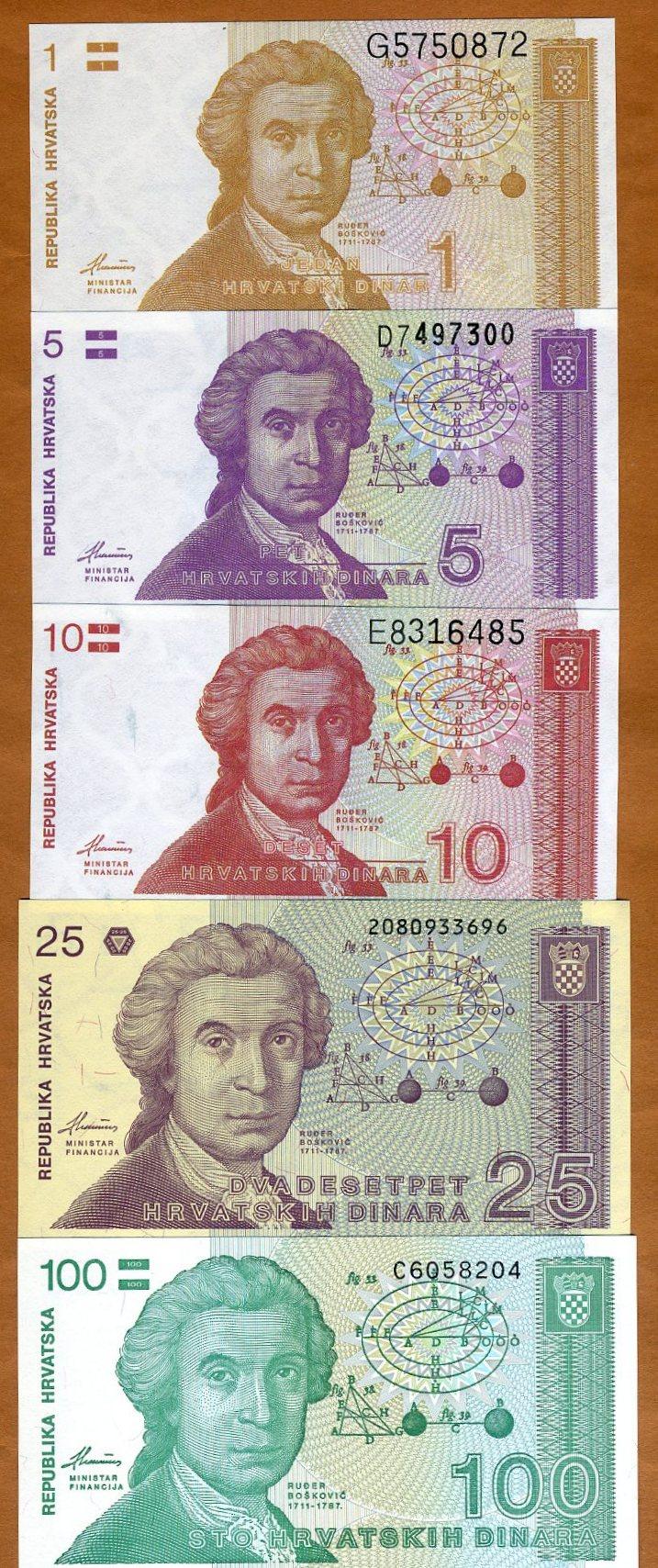 Set 6PCS Banknotes,Croatia 1+5+10+25+50000+100000 Dinara,UNC