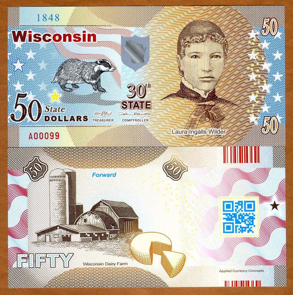 Polymer 2017 USA States Wisconsin $50 Laura Wilder ND