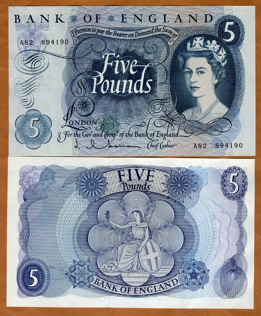 Hollom QEII Great Britain 5 pounds, 375a UNC /> Sig 1963-1966 P-375