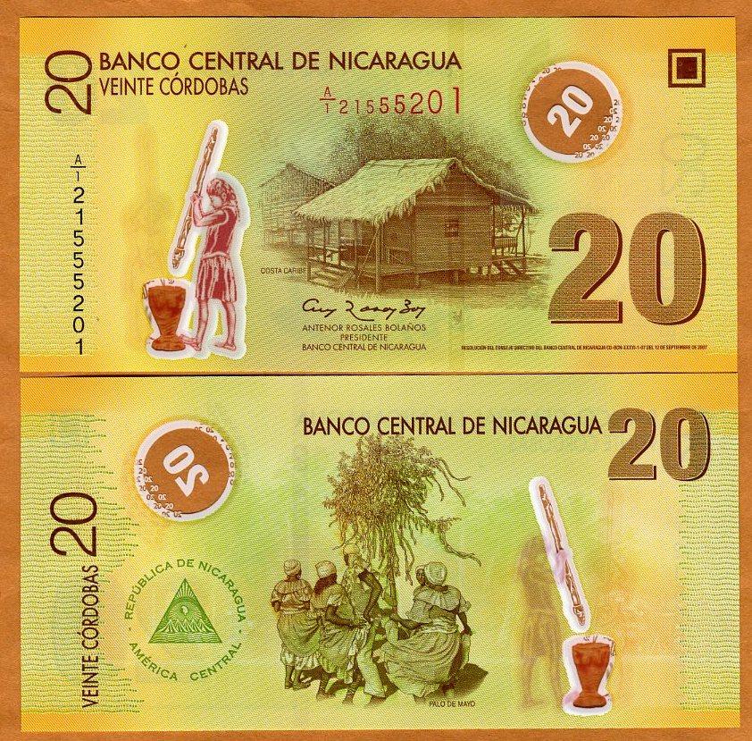 P-202b 2012 UNC Polymer 20 cordobas Nicaragua 2007