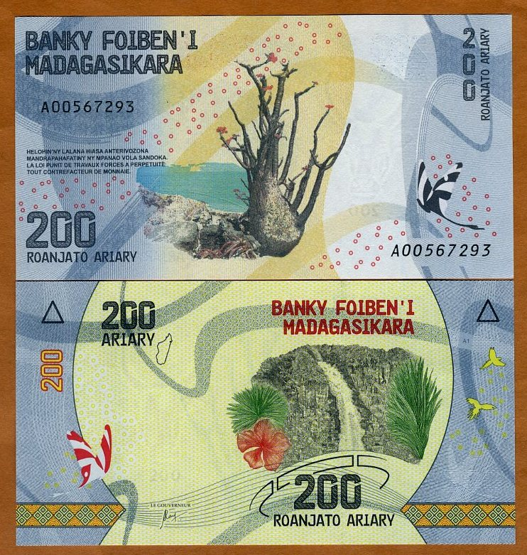 Madagascar 200 Ariary 2017 P-New Tree Butterfly Waterfall Colorful Unc