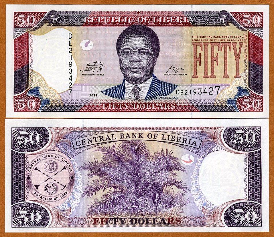 2011 UNC P-29 Liberia 50 Dollars