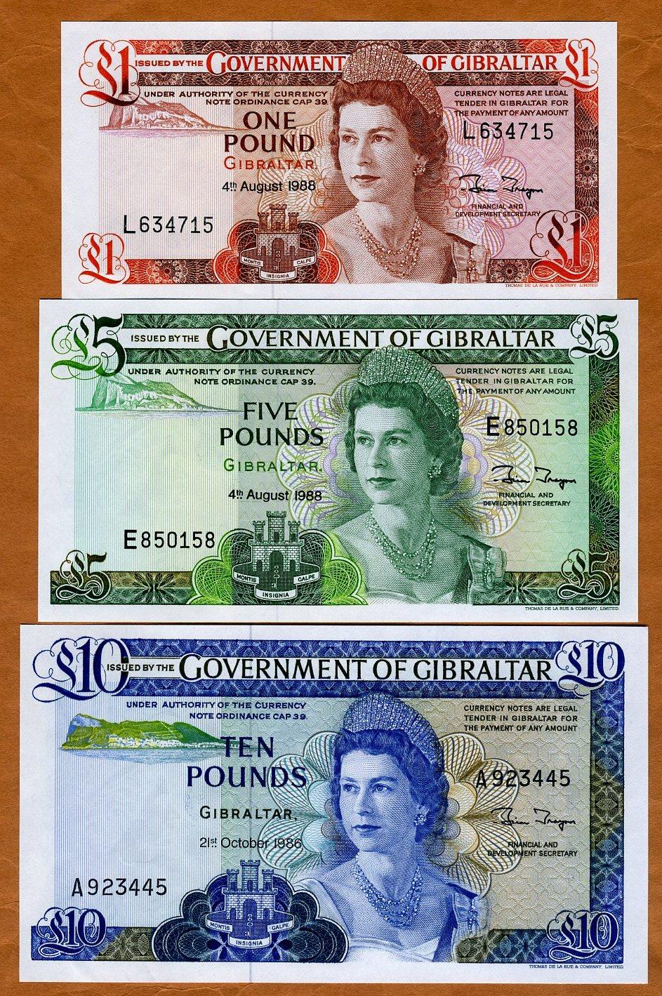 Picks 20e-21b-22b 1986-1988 1;5;10 pounds SET GIBRALTAR UNC QEII