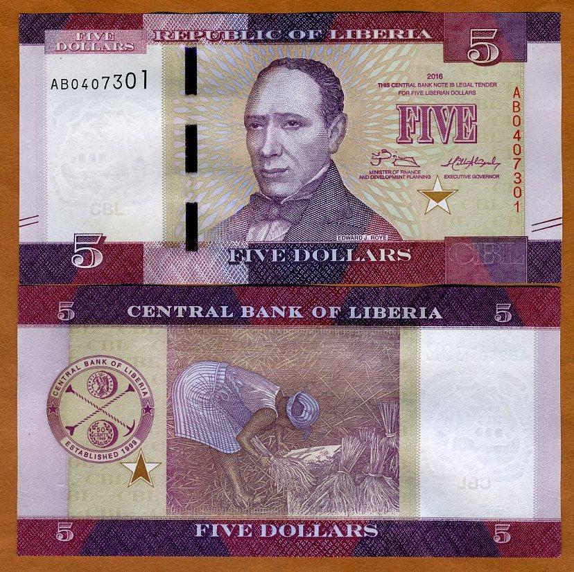 UNC LIBERIA com P NEW 10 DOLLARS 2016
