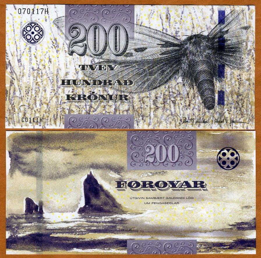 2012 Faeroe Faroe Islands P-31 UNC /> Moth 200 Kronur 2011