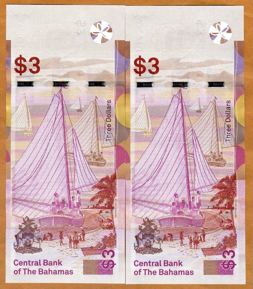 P-New 2017-2019 QEII UNC /> Redesigned 1//2-1-3 dollars Set Bahamas
