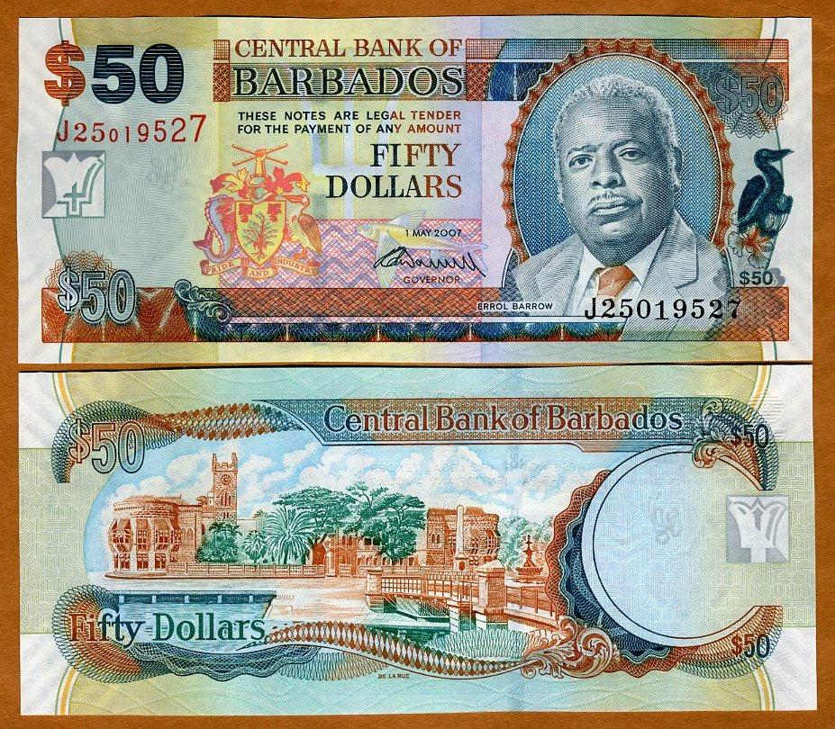 Unc P 71 B 2009 Provided Barbados 100 Dollars 2007