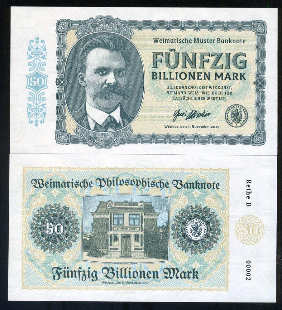 Private Issue Note Friedrich Nietzsche 50 Billion Mark 2019 Germany M-Serie