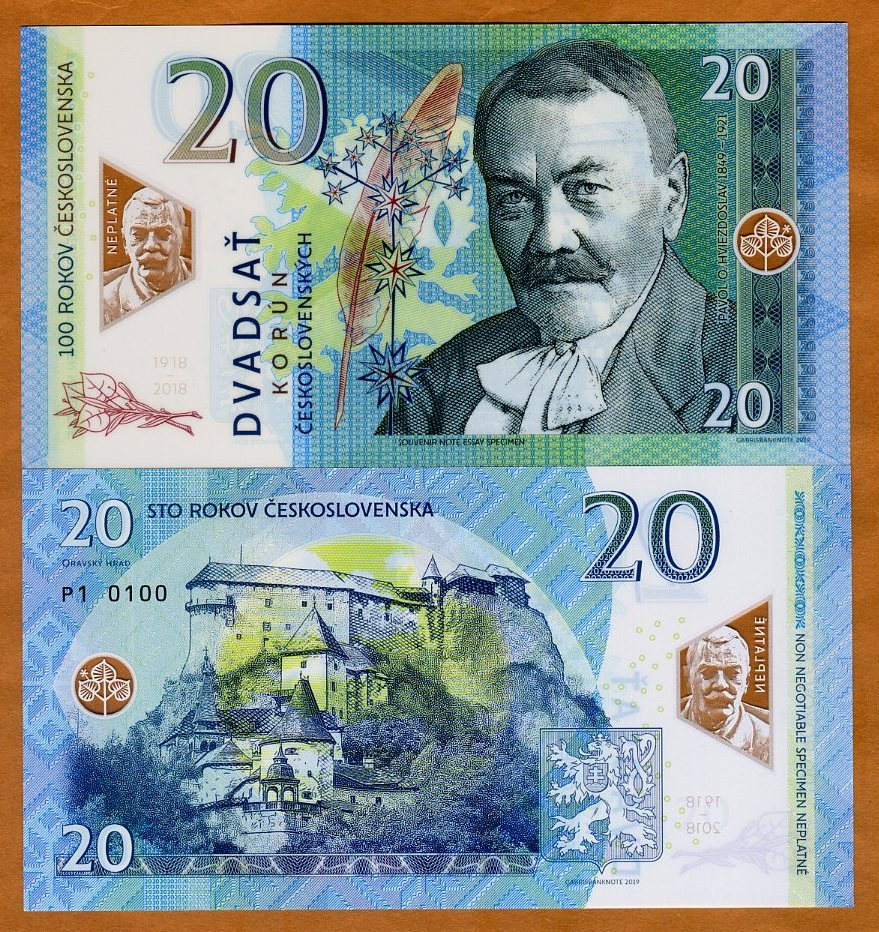 Private issue Polymer UNC /> Commemorative 20 Korun 2019 Czechoslovakia