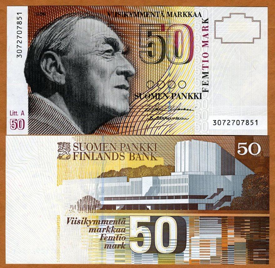 UNC Original Finland 50 Markkaa 1986 1991 P-118 Banknotes