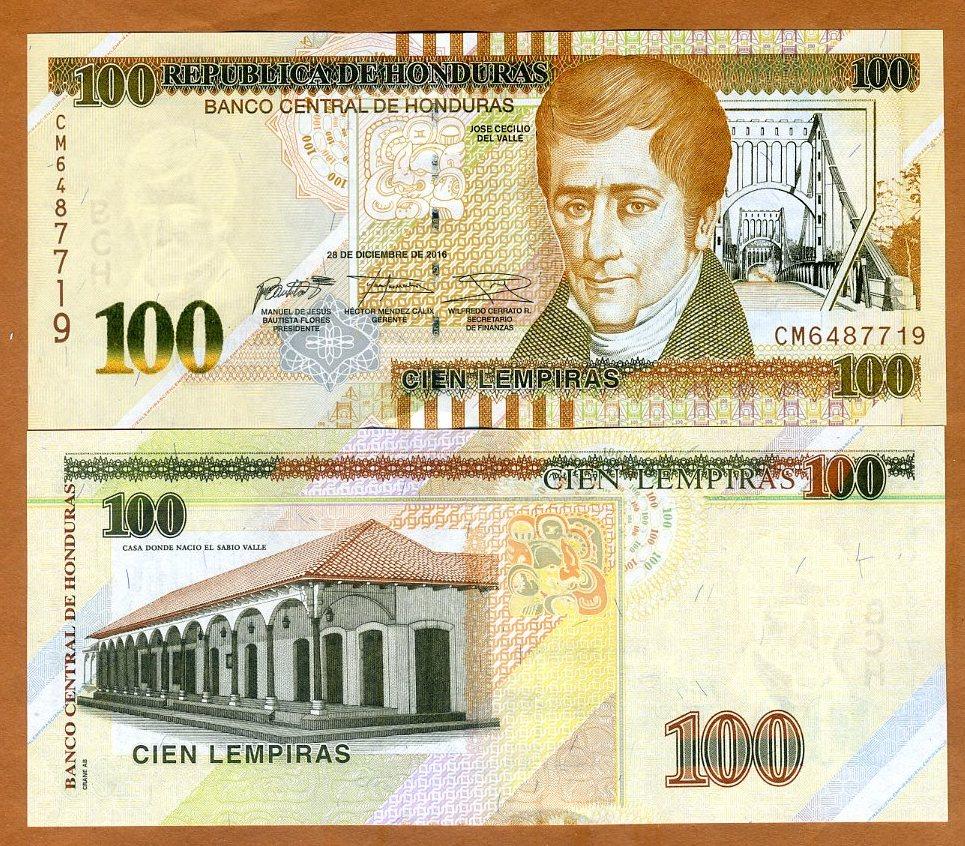 Honduras, 100 lempiras, 2016 (2018), P-Nuevo, Uncirculated > Braille, New  Sig. nuevo Diseño | eBay